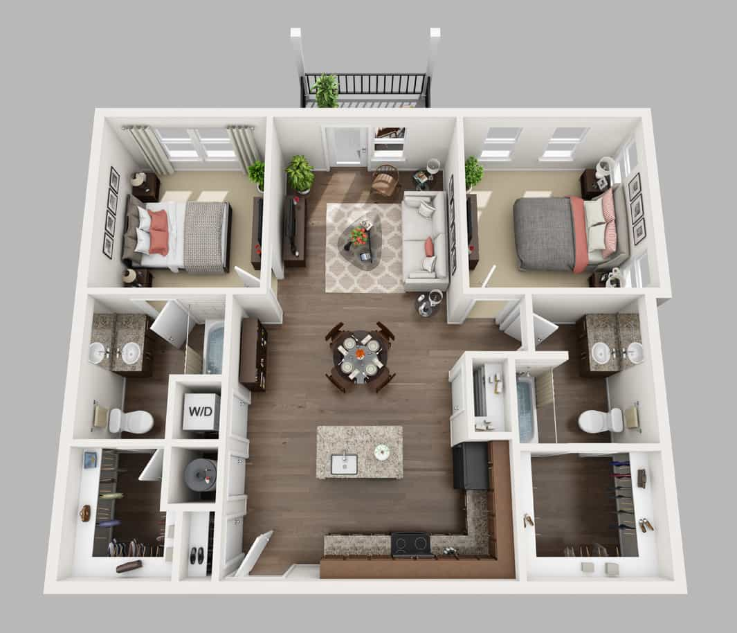 Above layout 2 bedroom, 2 bath